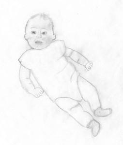 Torticollis Baby Sketch